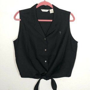 Tommy Bahama Tie Front  Silk Top Blouse Sleeveless